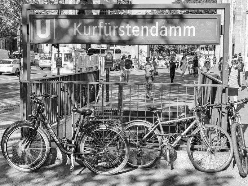 Metro Station With Tourists At Famous Kudamm Shopping Street, black and white. BERLIN, GERMANY - JUNE 2, 2017: Metro Station With Tourists At Famous Kudamm stock images