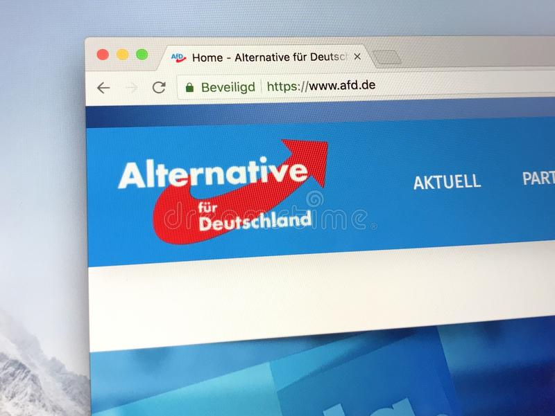 Homepage of German political party Alternative for Germany. Berlin, Germany - June 29, 2018: Official website of German right-wing political party Alternative stock photo