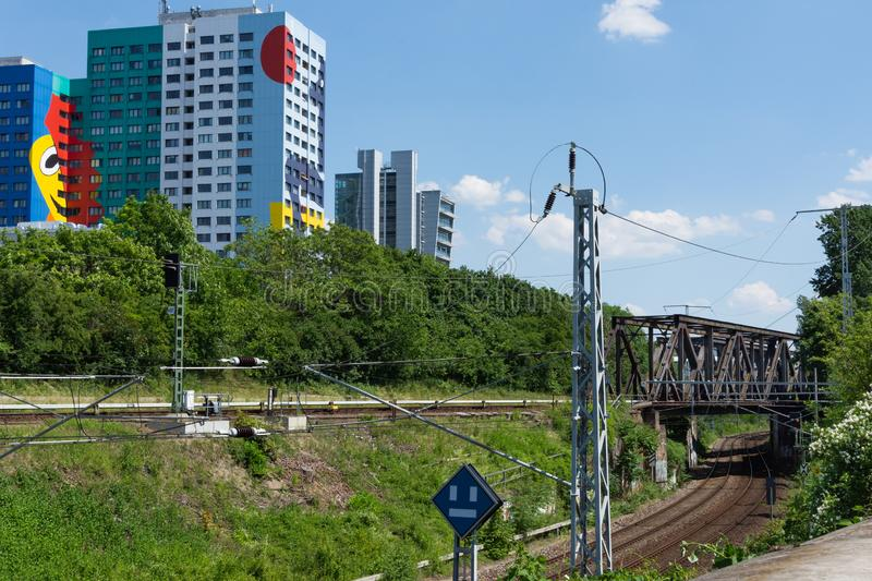Railway in the Prenzlauer Berg, Berlin stock images