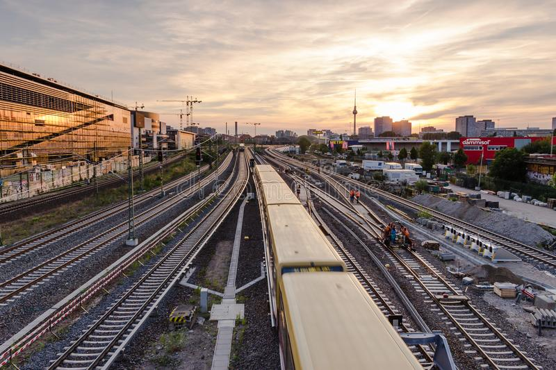 View of the railway tracks and TV tower from Warsaw bridge Wars. Berlin, Germany, June 6, 2018: view of the railway tracks and TV tower from Warsaw bridge Warsaw stock photos