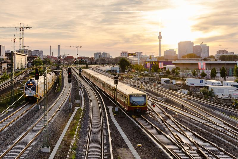 View of the railway tracks and TV tower from Warsaw bridge Wars. Berlin, Germany, June 6, 2018: view of the railway tracks and TV tower from Warsaw bridge Warsaw royalty free stock photo
