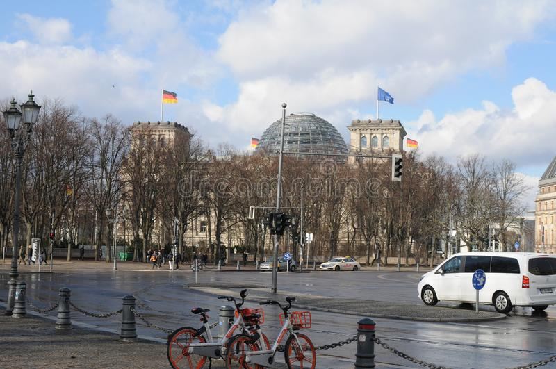 GERMAN PARLIAMENT BUILDING REICHTAG AND BUNDESTAG royalty free stock photo