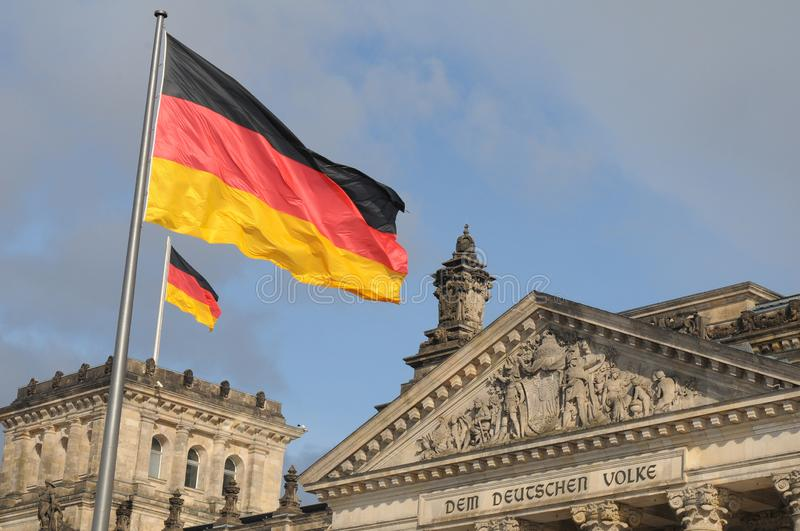 GERMAN PARLIAMENT BUILDING REICHTAG AND BUNDESTAG stock photography