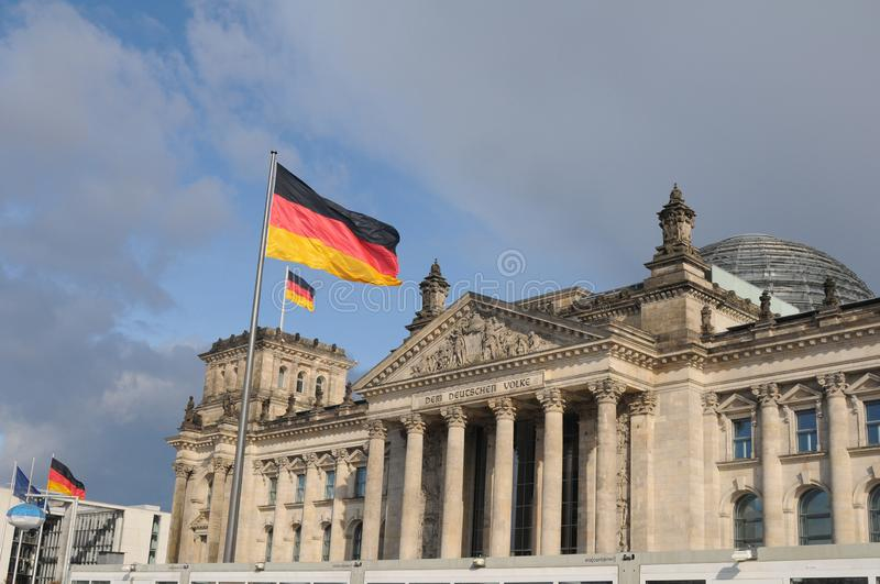 GERMAN PARLIAMENT BUILDING REICHTAG AND BUNDESTAG stock photos