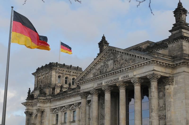 GERMAN PARLIAMENT BUILDING REICHTAG AND BUNDESTAG royalty free stock image