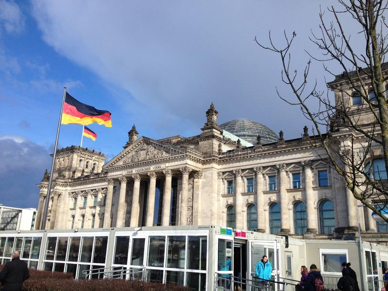 REICHTAG GERMAN PARLIAMENT BUILDING BERLIN GERMANY royalty free stock photography