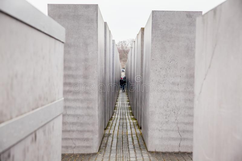 Memorial to the Murdered Jews of Europe in a cold and rainy end of winter day stock photography