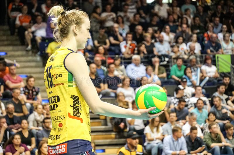 Volleyball player Kimberly Hill. Berlin, Germany - May 21, 2019: American volleyball player Kimberly Hill, part of the Imoco Volley Conegliano, Italian women`s stock image