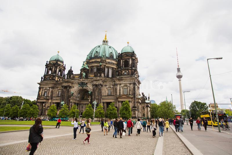 BERLIN, GERMANY - MAY 09, 2014: Beautiful view of historic Berliner Dom. The big cathedral. Travel through Europe stock image