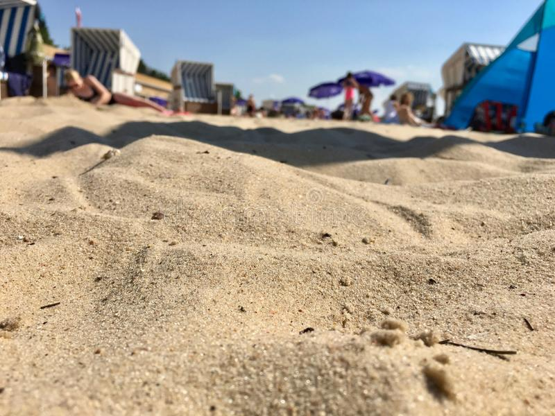 Close up Sand and Beach on a hot summer day at Strandbad Wannsee in Berlin 2018 stock images