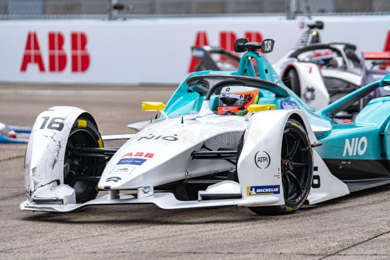 FIA Formula E E-prix racing car championship. Berlin, Germany - May 24, 2019: FIA Formula E E-prix racing car championship. The FIA Formula E Championship is a stock photos