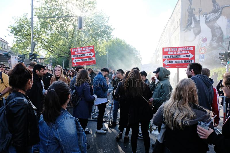 Berlin, Germany - May 1, 2018: Large crowd of people jamming. In the oranienstrasse at the exit of Myfest in Kreuzberg. May Day in Berlin Kreuzberg refers to royalty free stock photo