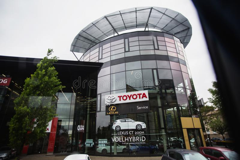 BERLIN, GERMANY - MAY 09, 2014: Large shop Toyota in Berlin. Cars on the city street. Travel through Europe royalty free stock photography