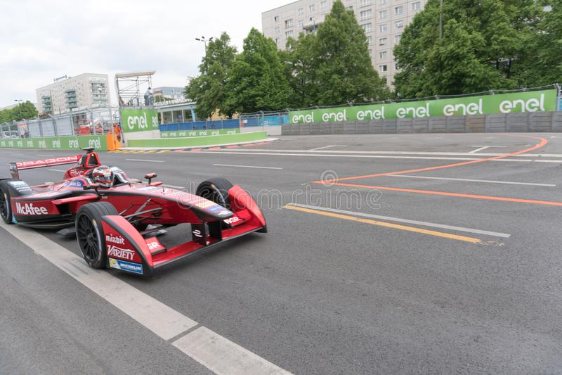 Mcafee Formula E Racing Car On Racetrack Editorial Stock Image