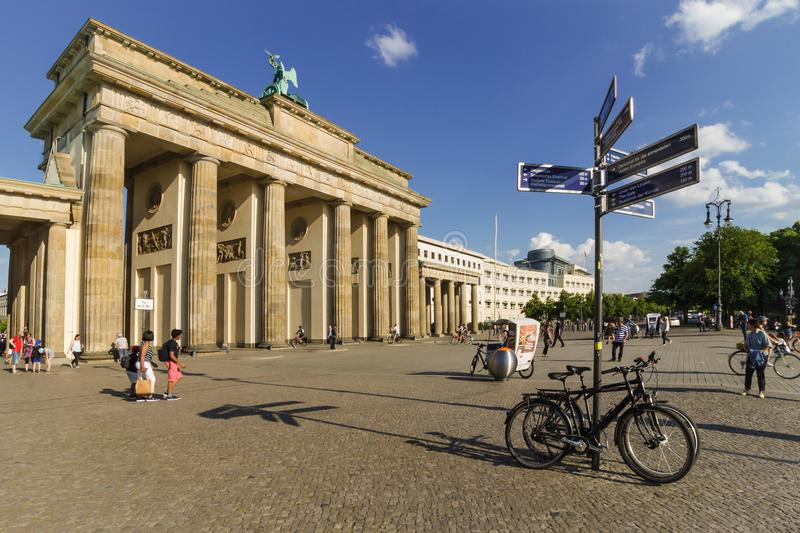 BERLIN, GERMANY - MAY 25, 2018. View of the Brandenburg gate from West Berlin. royalty free stock image