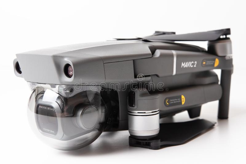 Berlin, Germany - november 21, 2018: DJI Mavic 2 Pro Drone in folded state isolated on white background stock photos