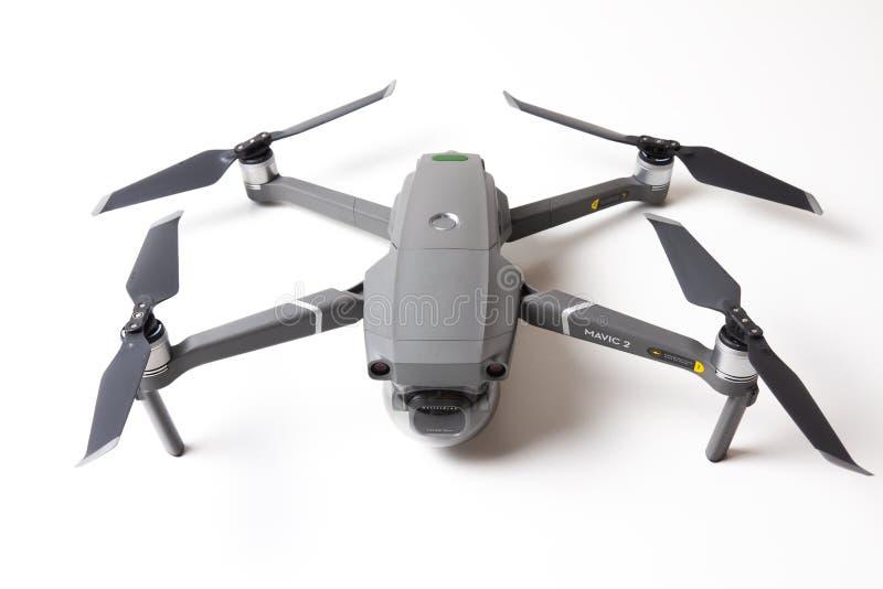 Berlin, Germany - november 21, 2018: New drone DJI Mavic 2 pro isolated on white background royalty free stock photography