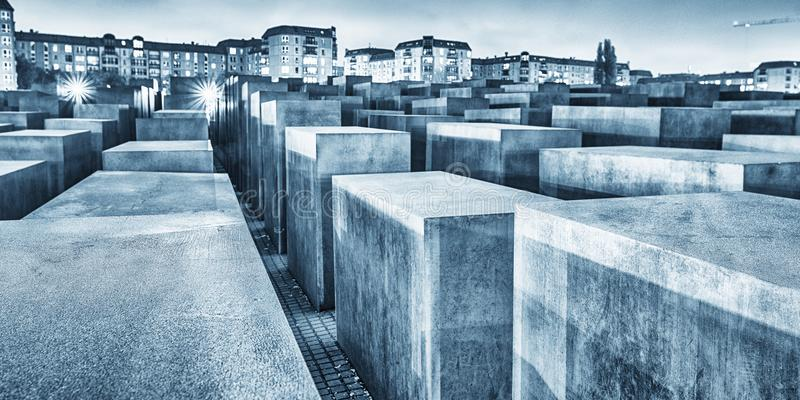 BERLIN, GERMANY - OCT 17, 2013: View of Jewish Holocaust Memorial at night, Berlin, Germany stock photography