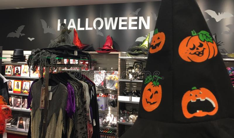 Halloween department. Berlin, Germany - October 11, 2018: Halloween department inside a shopping mall royalty free stock photography