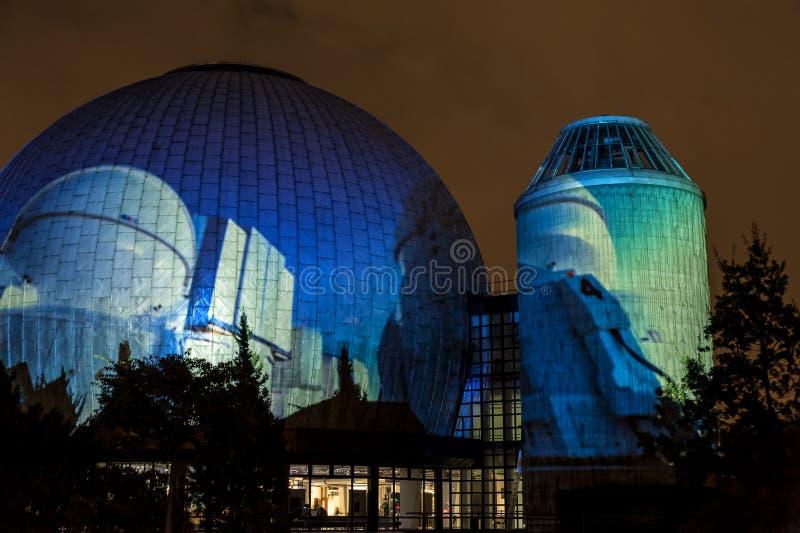 BERLIN, GERMANY, OCTOBER 9, 2013: Berlin Light Art Festival on Planetarium, Zeiss-Großplanetarium. royalty free stock photos
