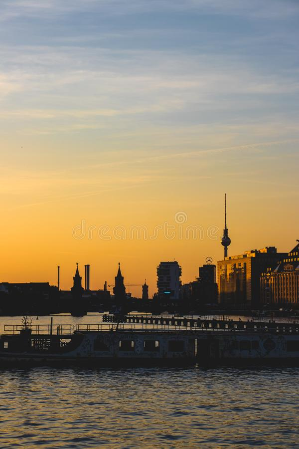 BERLIN, GERMANY, October 7, 2018: Old ship on the spree river in royalty free stock photos