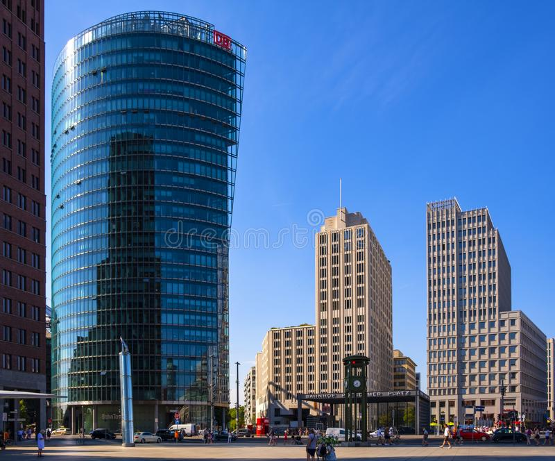 Berlin, Germany - Panoramic view of the Potsdamer Platz square with modern office buildings and Bahnhof Potsdamer Platz railway stock photo