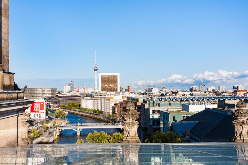 Above view of Berlin city from roof of Reichstag royalty free stock images