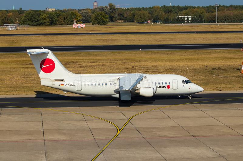 Berlin, Germany, September 8, 2018: BAe 146-200 by WDL Aviation at Tegel airport in Berlin royalty free stock photo