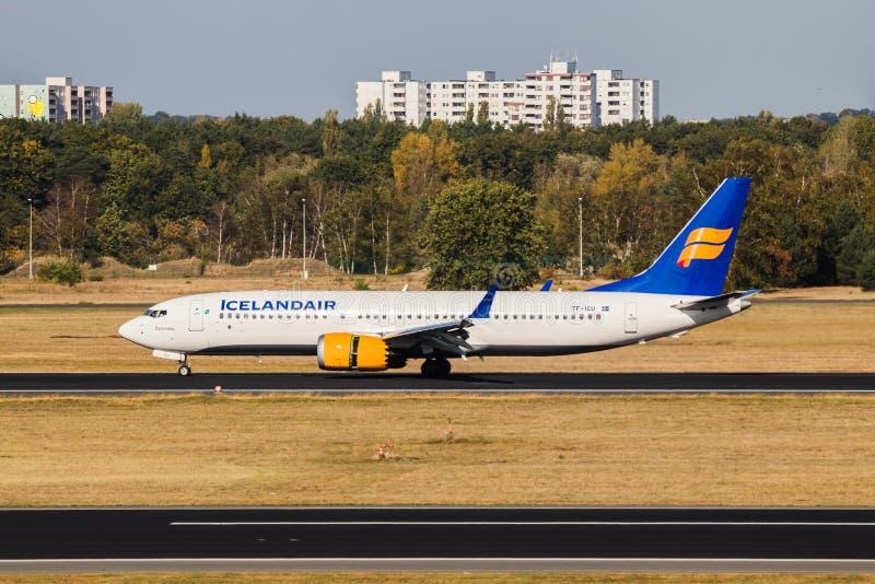 Berlin, Germany, September 8, 2018: Boeing 737 MAX 8 by Icelandair at Tegel airport in Berlin stock images