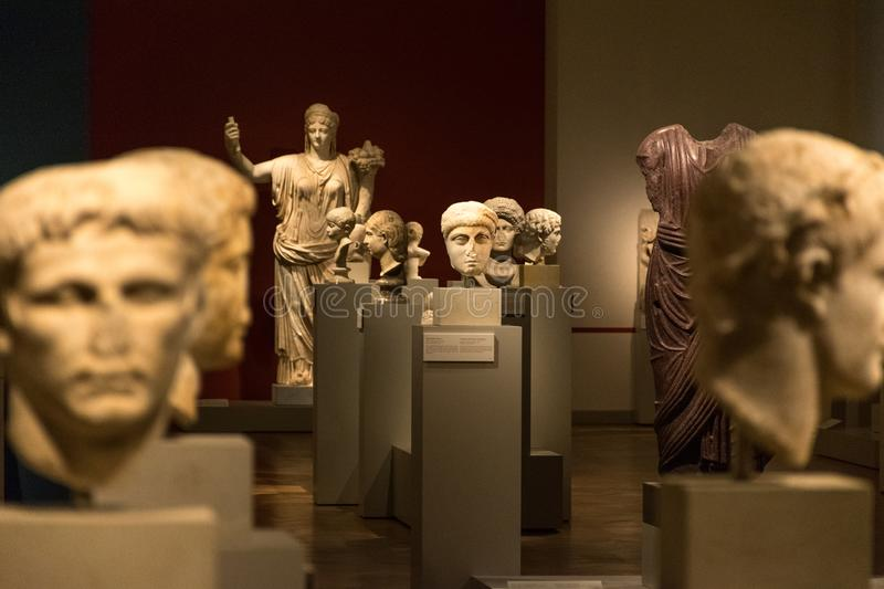 BERLIN, GERMANY - SEPTEMBER 26, 2018: In depth view of greek and roman statues heads of the Collection of Classical royalty free stock image