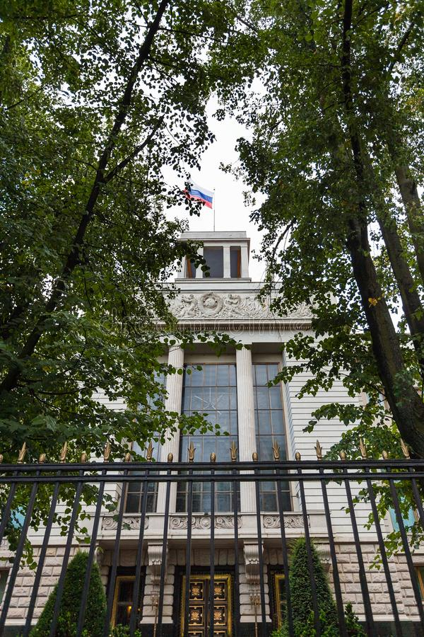 Embassy of the Russian Federation in Germany. BERLIN, GERMANY - SEPTEMBER 13, 2017: Embassy of the Russian Federation in Germany on Unter den Linden boulevard in royalty free stock photography