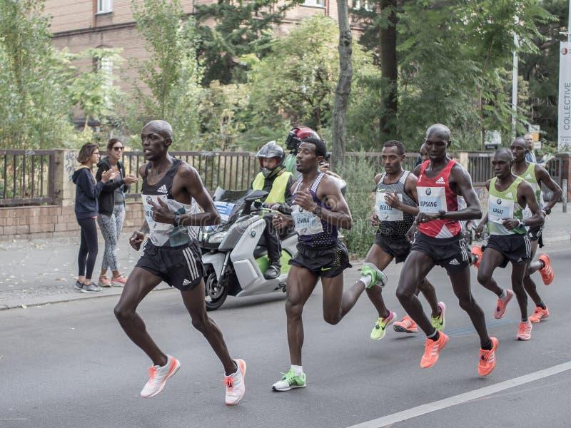 Leading Group At Berlin Marathon 2016. BERLIN, GERMANY - SEPTEMBER 25, 2016: The Leading Group At Berlin Marathon 2016 stock image