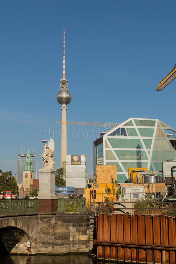 Television Tower and St. Mary`s Church and the Humboldt Box stock photo