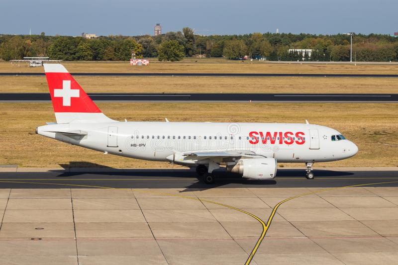 Berlin, Germany, September 8, 2018: Swiss Airbus A319-112 at Tegel airport in Berlin royalty free stock photo