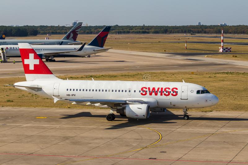 Berlin, Germany, September 8, 2018: Swiss Airbus A319-112 at Tegel airport in Berlin stock photo
