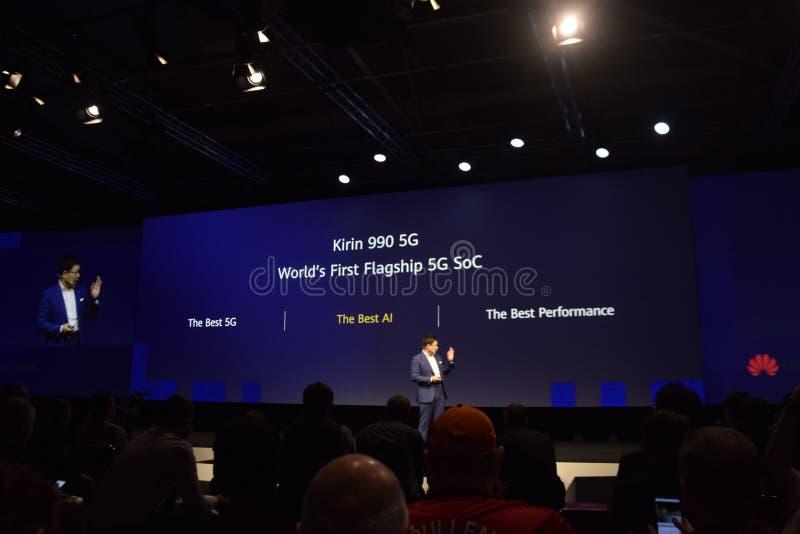 Huawei keynotes at IFA 2019 stock image