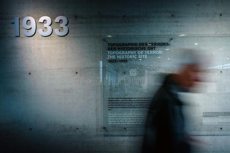 BERLIN, GERMANY - SEPTEMBER 22, 2015 - Topography of Terror Topographie des Terrors museum stock image