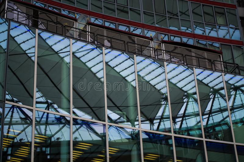 14.05.2019. Berlin, Germany. Shopping and office center Sony with modern glass buildings and an unusual roof over the yard. White stock photo