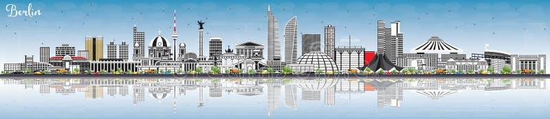 Berlin Germany Skyline com Gray Buildings, céu azul e reflete ilustração do vetor