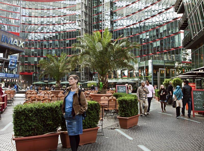 Berlin Germany - Sony Center, complejo de edificio patrocinado en los potes fotografía de archivo