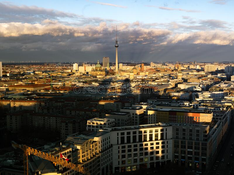 Berlin Skyline - Fernsehturm at sunset royalty free stock image