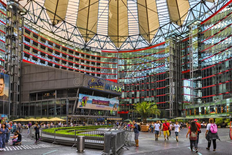 Berlin, Germany, 10th July, 2018. View of the inside unique architecture of the Sony center, the people the terraces and the beaut stock images