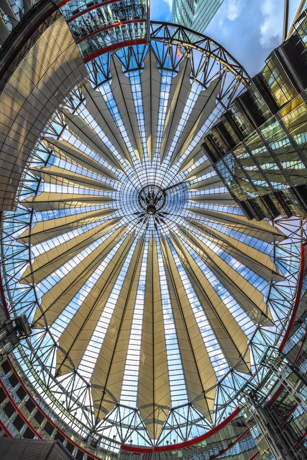 Berlin, Germany 8 th July 2018. A view of the roof structures and buildings, inside the Sony Center at Potsdammer square, against stock image