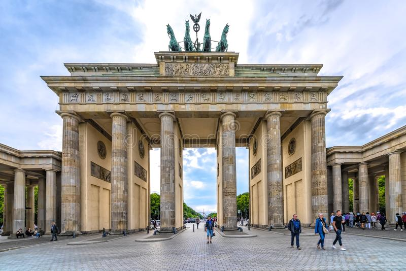 Berlin, Germany 16th May 2018. view of the Brandenburg Gate, on a beautiful clear day in the spring. A magnet for tourists from all over the world royalty free stock images