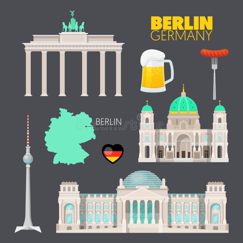Berlin Germany Travel Doodle met Berlin Architecture, Bier en Vlag vector illustratie
