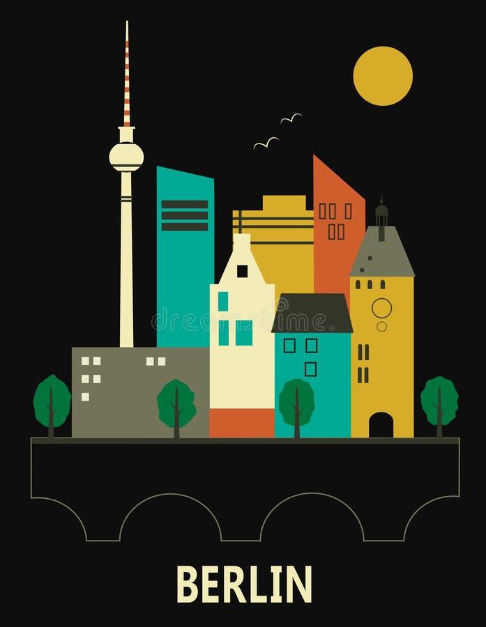 Berlin Germany. Vector illustration on black background vector illustration