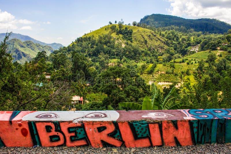Berlin Graffiti in Sri Lanka, Ella stock photo