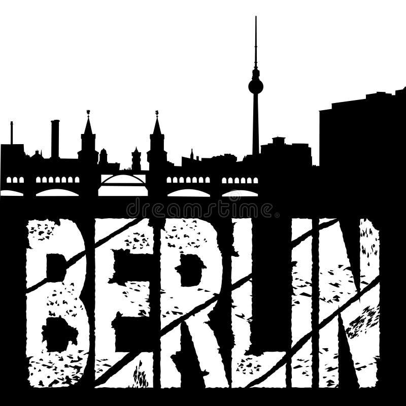 berlin grunge linia horyzontu ilustracja wektor