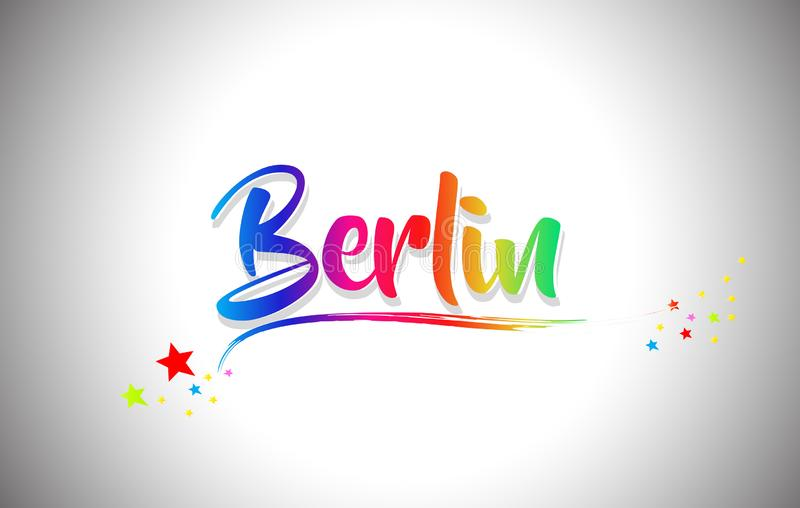 Berlin Handwritten Word Text con i colori dell'arcobaleno e vibranti mormorano royalty illustrazione gratis