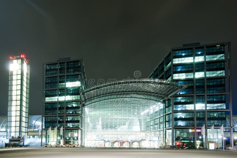 Berlin Hauptbahnhof at night royalty free stock image